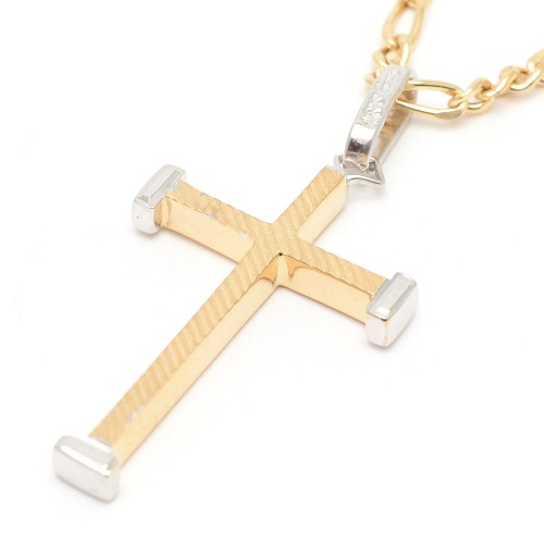 Cruz Oro Puntas Oro Blanco