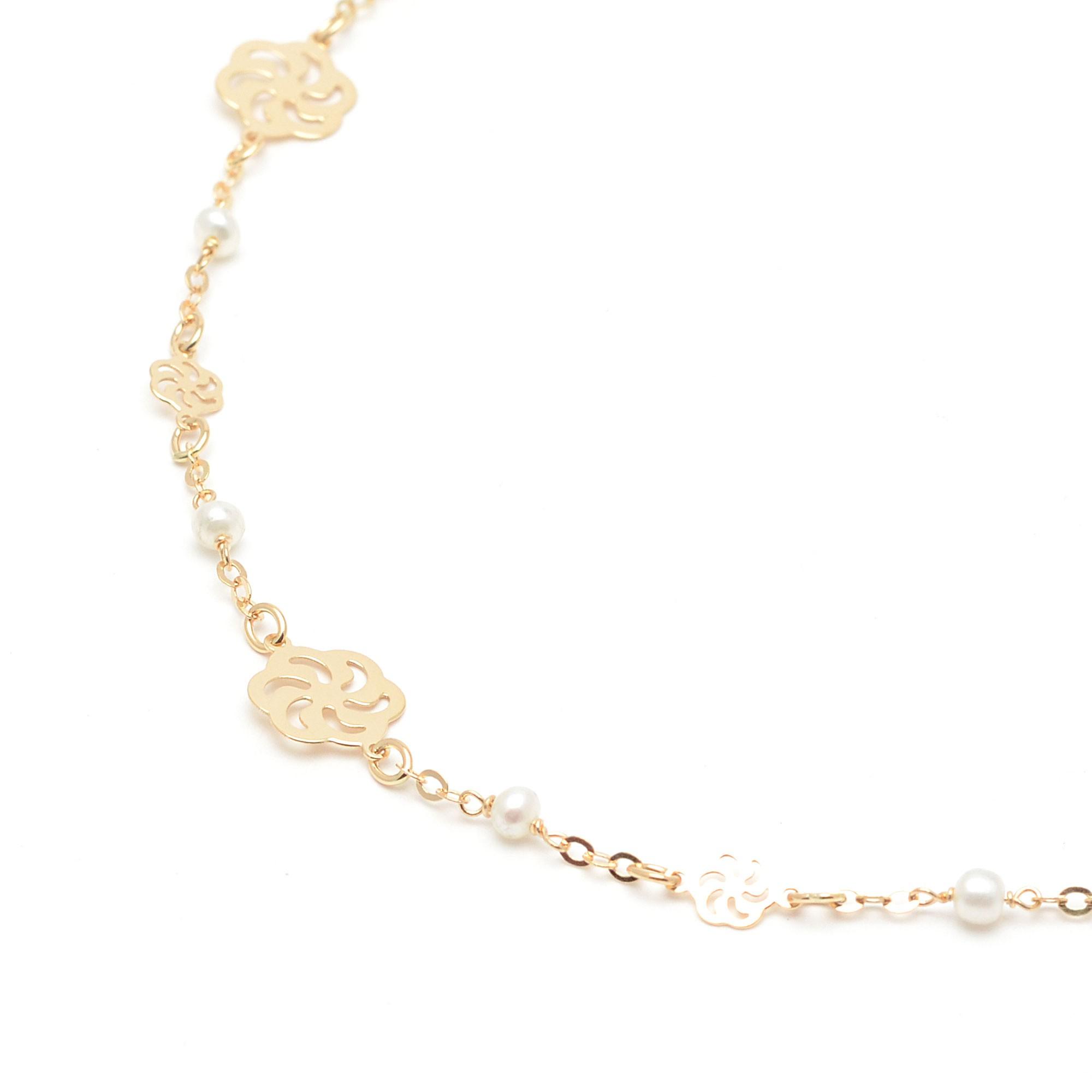 47d0d96b429b Pulsera Oro Niña Comunión Flores con Perlas