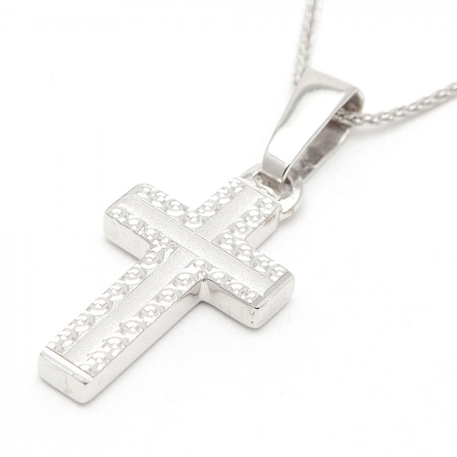 Cruz Oro Blanco Biselada