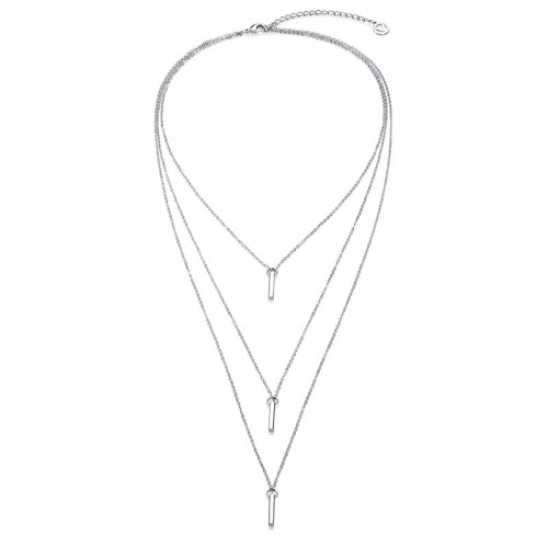 Collar Viceroy Plateado Cadena Triple Barrita