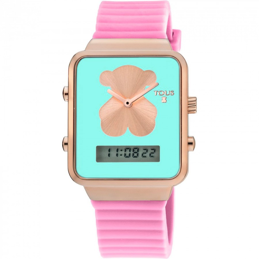 f40edba41c30 Reloj Tous I-Bear digital dorado correa goma rosa