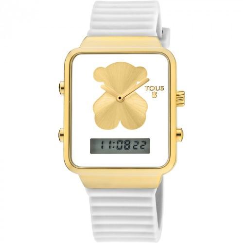 Reloj Tous Digital I-Bear Dorado Correa Blanca