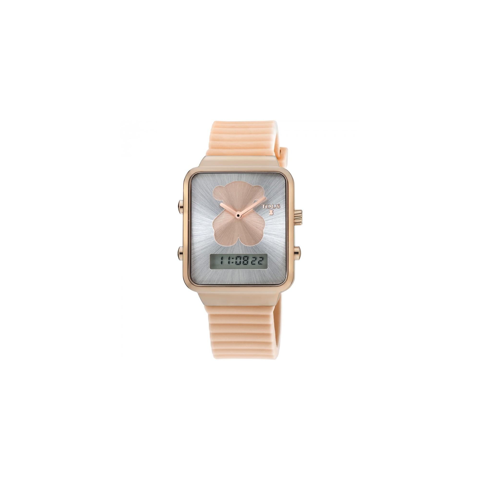 gran descuento e6566 b5725 Reloj Tous I-Bear digital dorado correa goma rosa
