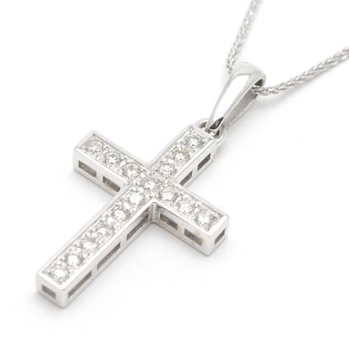 Cruz Oro Blanco Diamantes