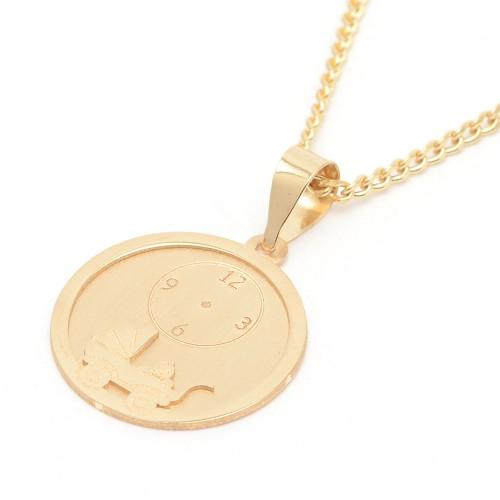 Medalla Oro Bebé con Reloj