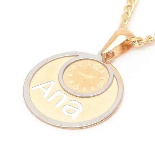 Medalla Oro Bebé Reloj Nombre