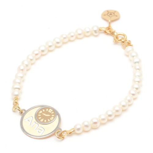Pulsera Oro Bebé Perlas Reloj Nombre