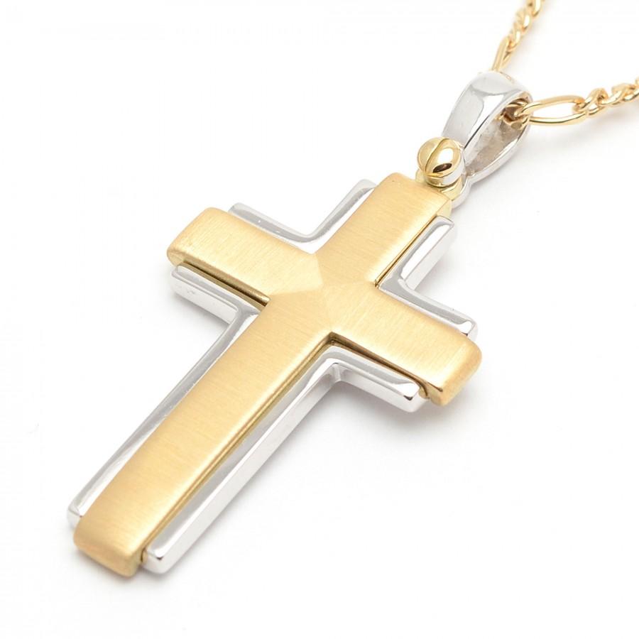 d4b3e0584c6c Cruz de oro amarillo y oro blanco para hombre o niño de Comunión