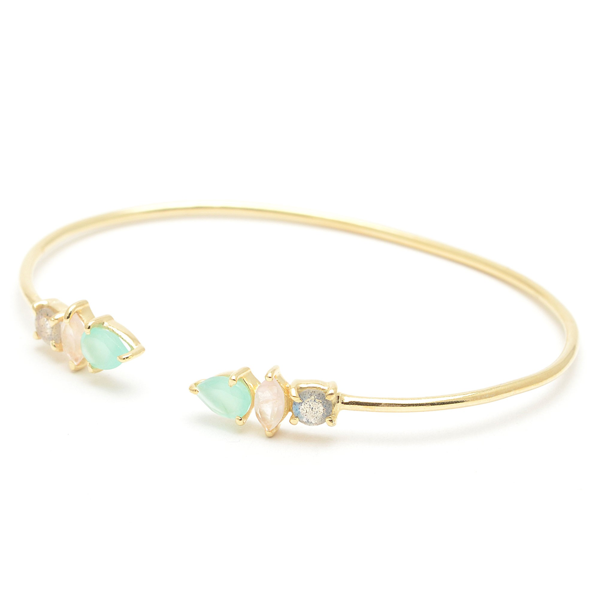 04599e0f2bb1 Brazalete dorado de plata con piedras verdes y rosa