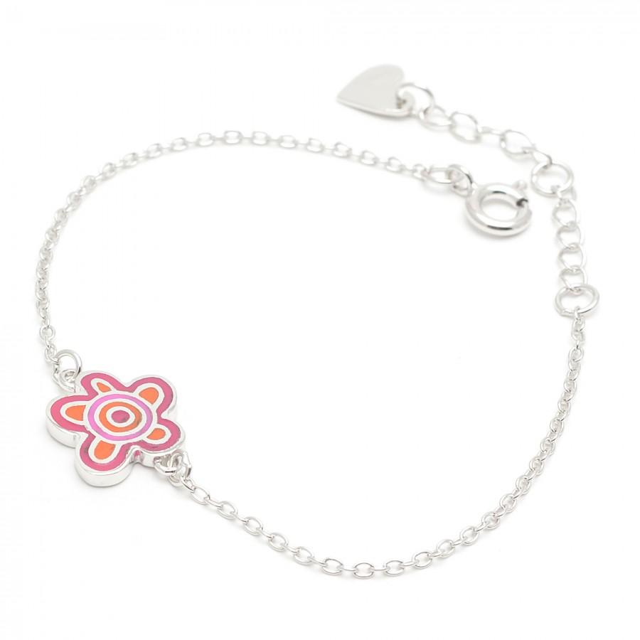 72aaf876d3d4 Pulsera de Agatha para niña con flores rosa