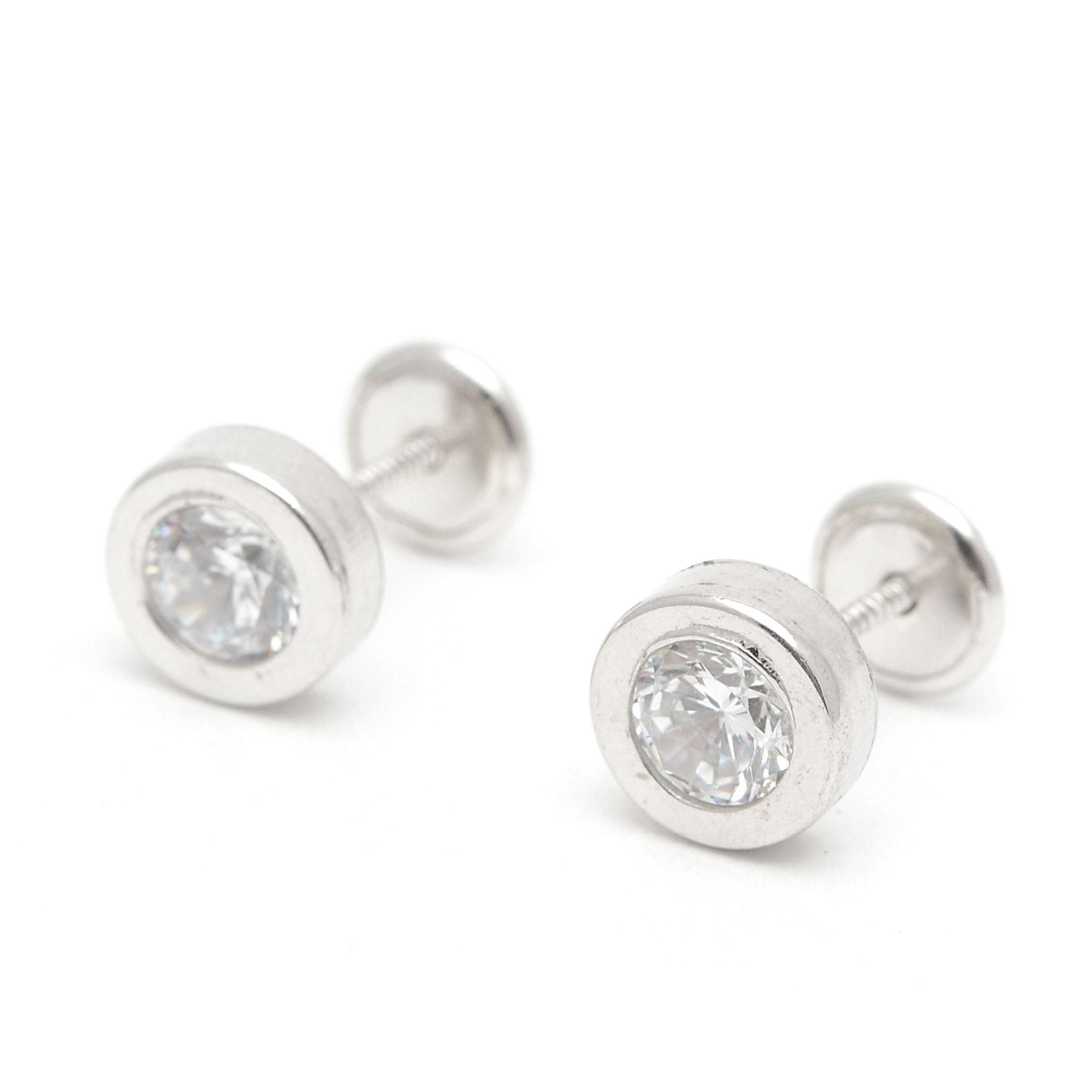 66c9d88d9030 Pendientes de plata de rosca redondos con circonitas