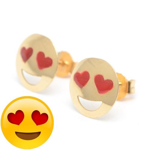 Pendientes Oro Emoticono Carita Sonrisa