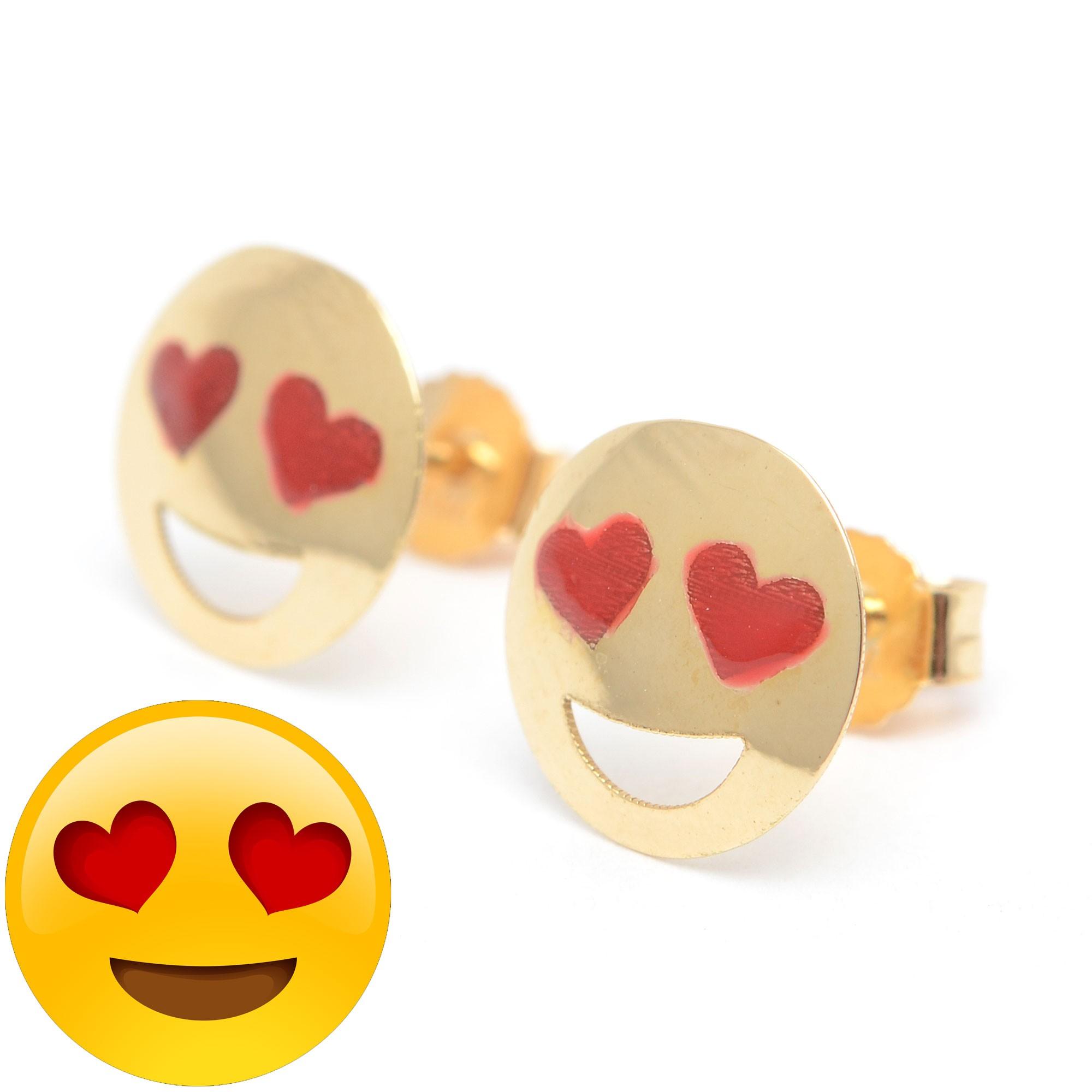 pendientes oro chica niña infantil emoticono carita enamorada