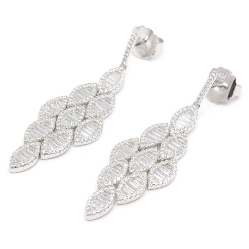 Pendientes Plata Dorados Largos con Cristales
