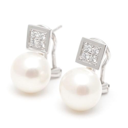 Pendientes Plata Perlas Cuadrados Circonitas