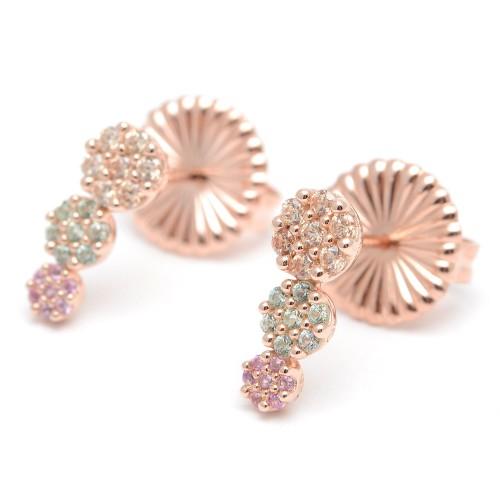 Pendientes Plata Dorados con Cristales Verdes y Rosa