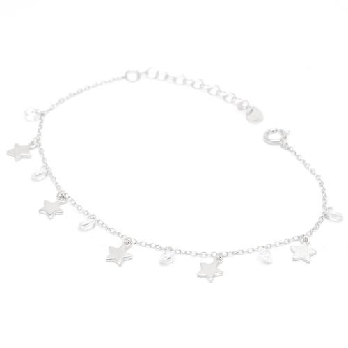 Pulsera Plata Estrellas con Cristales