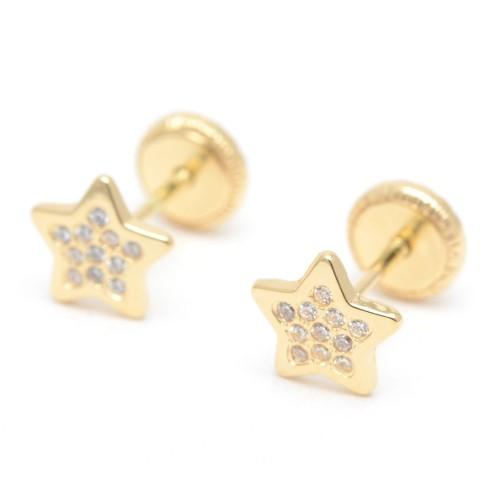 Pendientes Oro Bebé Estrella Circonitas