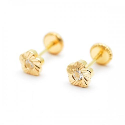 Pendientes Oro Flor Tallada Circonita