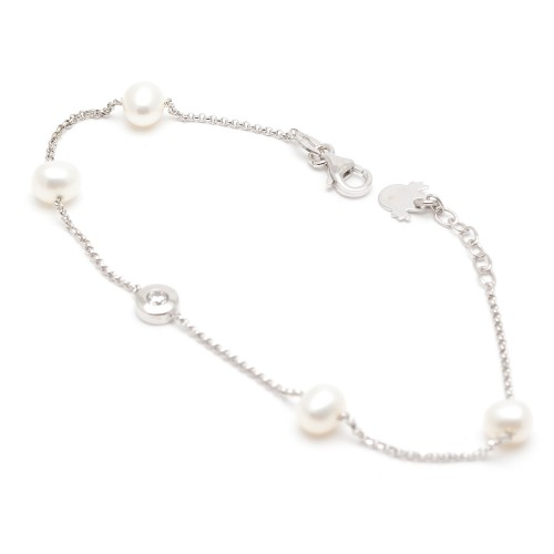 Pulsera de Plata con Perlas Blancas