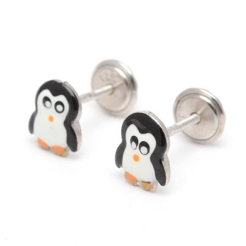 Pendientes Plata Bebé Niña Infantil Rosca Pingüino