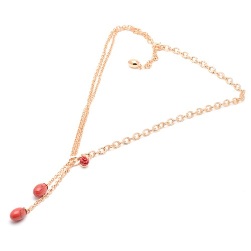 Collar Rebecca Dorado Corales Rojos