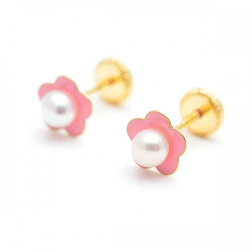 Pendientes Oro Flor Rosa Perla