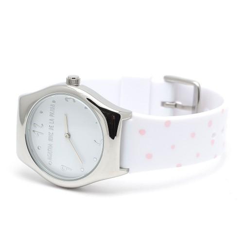 Reloj Agatha Blanco Topos Rosa