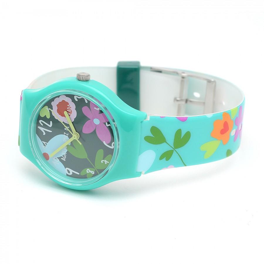 Reloj Niña Agatha Verde Correa Flores Colores