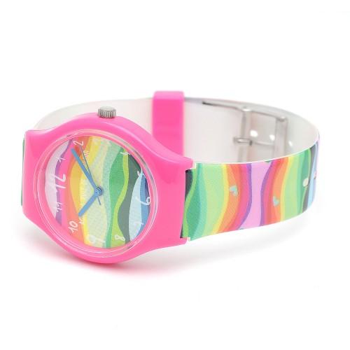 Reloj de Agatha para niña fucsia con correa de colores