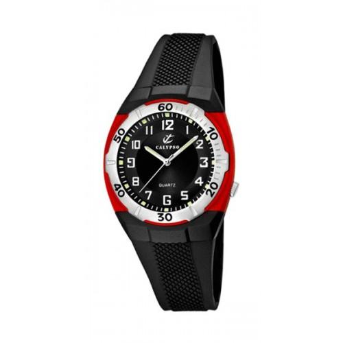 Reloj Calypso Rojo Goma Negra