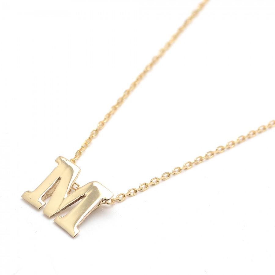 c3705b21e2f5 Colgante de oro con la letra inicial y cadena