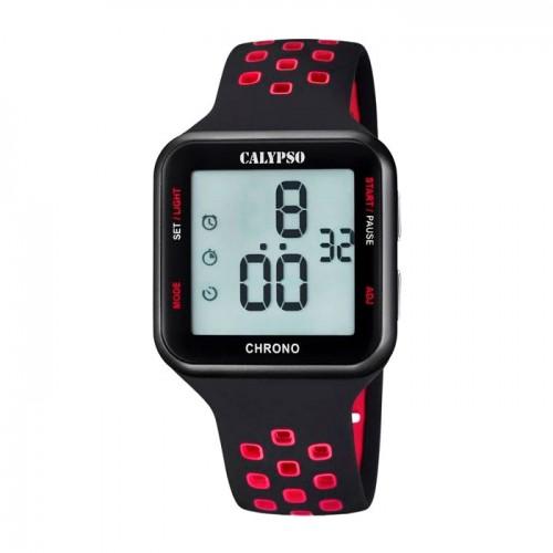 Reloj Calypso Digital Negro y Rojo Correa Goma