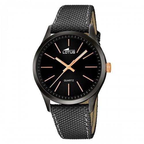 Reloj Lotus Negro y Dorado con Correa Negra