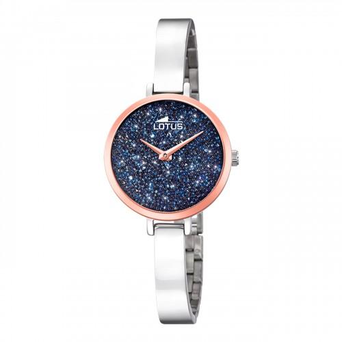 Reloj Lotus Cristales Swarovski Brazalete Malla Acero