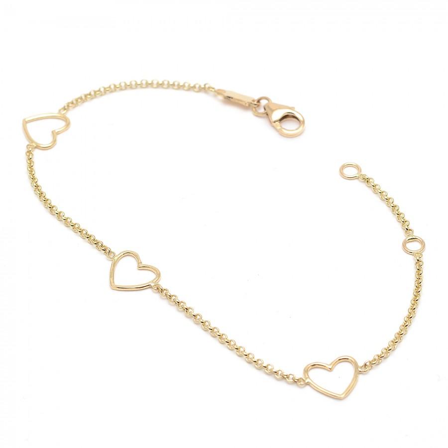 c7065439f769 Pulsera de oro para chica sencilla con corazones de oro