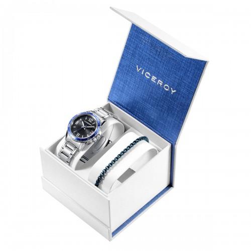 Estuche Reloj Viceroy Niño Comunión Azul Brazalete Acero con Pulsera