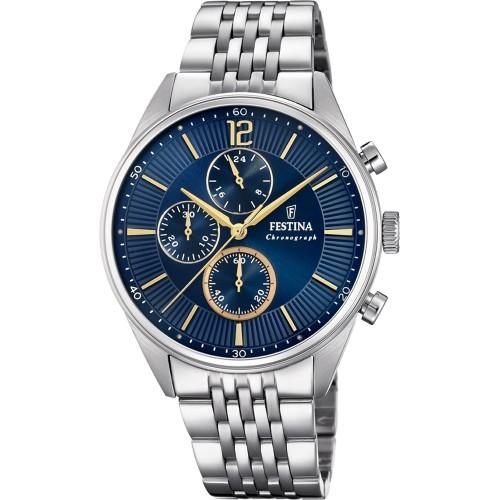 Reloj para chico Festina azul deportivo con brazalete de acero