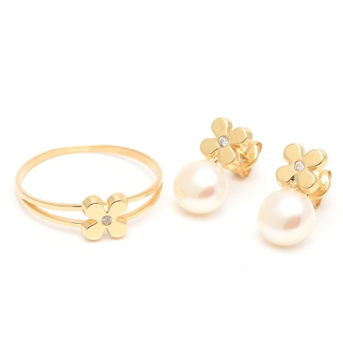 Aderezo Oro Perla Flor Circonitas