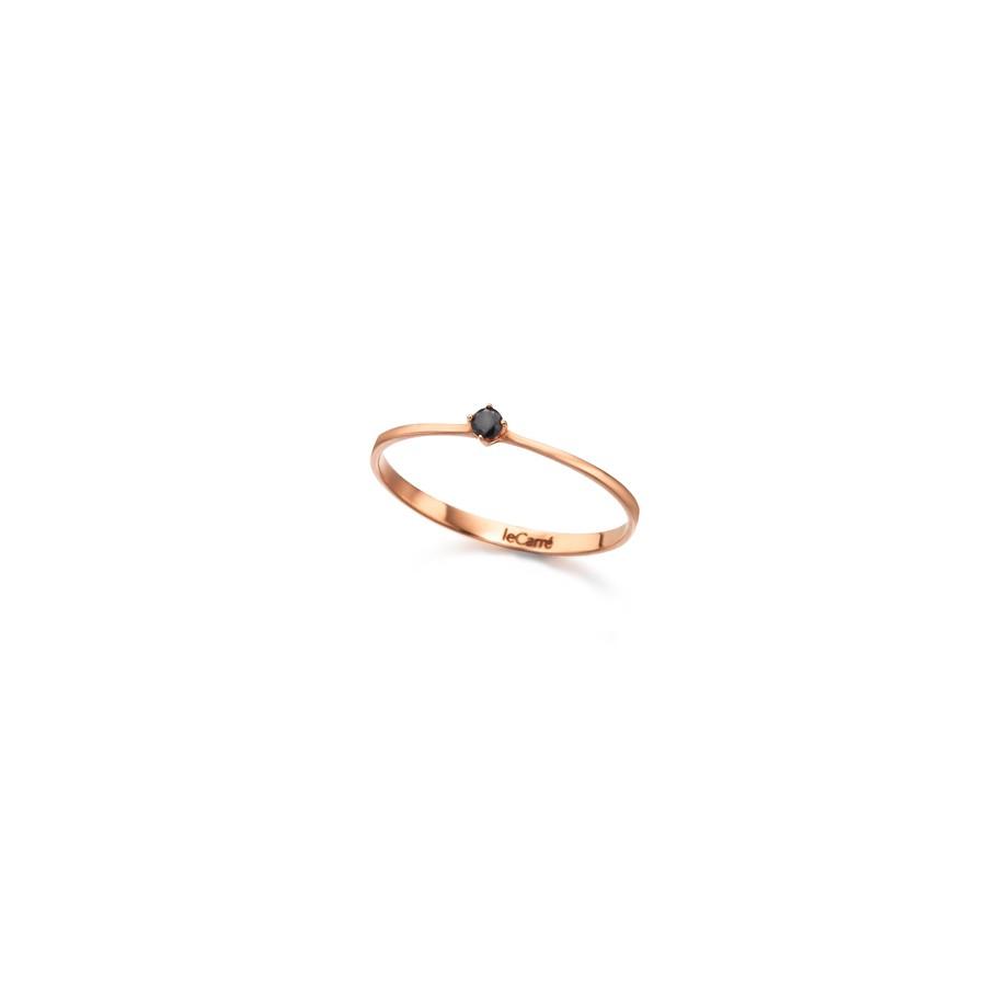 Sortija Oro Rosa Chica LeCarré Diamante Negro