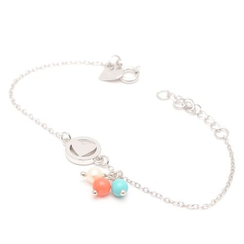 Pulsera Plata Agatha Corazón Perla Coral Turquesa