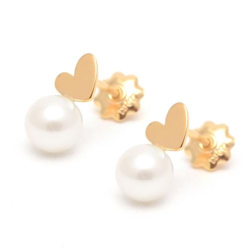 Pendientes Plata Dorada Agatha Corazón Perla