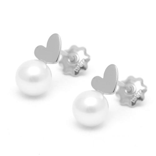 Pendientes Plata Agatha Corazón Perla
