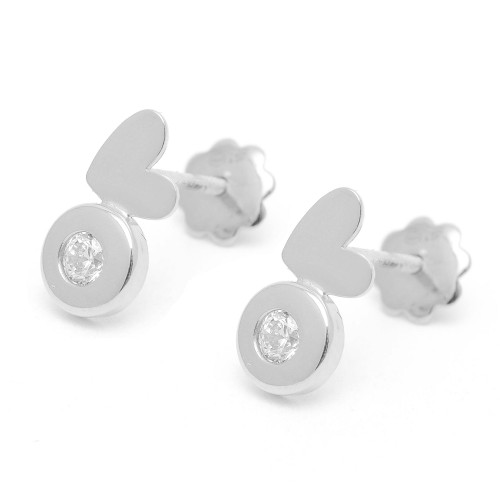 Pendientes Plata Agatha Corazón Circonita