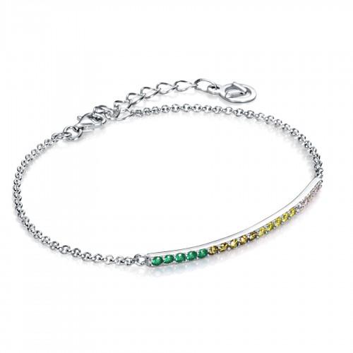 Pulsera Plata Viceroy Cristales Verdes y Amarillos