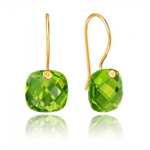 Pendientes Plata Viceroy Dorados Cristal Verde