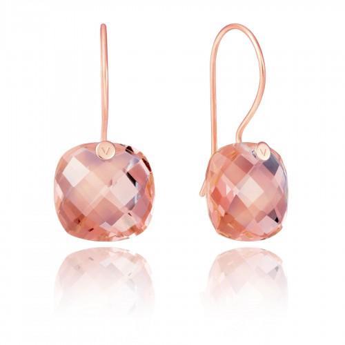 Pendientes Plata Viceroy Dorados Cristal Rosa