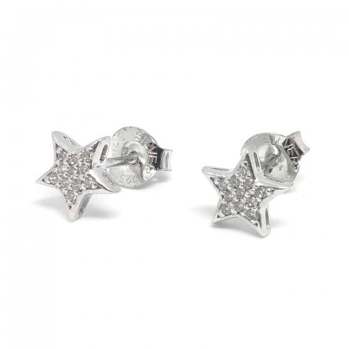 Pendientes de Plata Lotus de Estrellas con Cristales