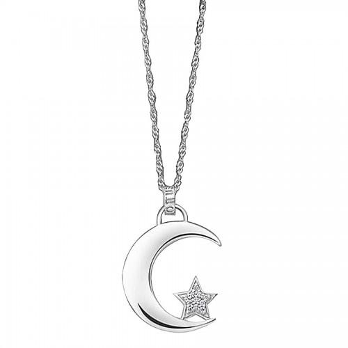 Colgante Plata Lotus Luna y Estrella
