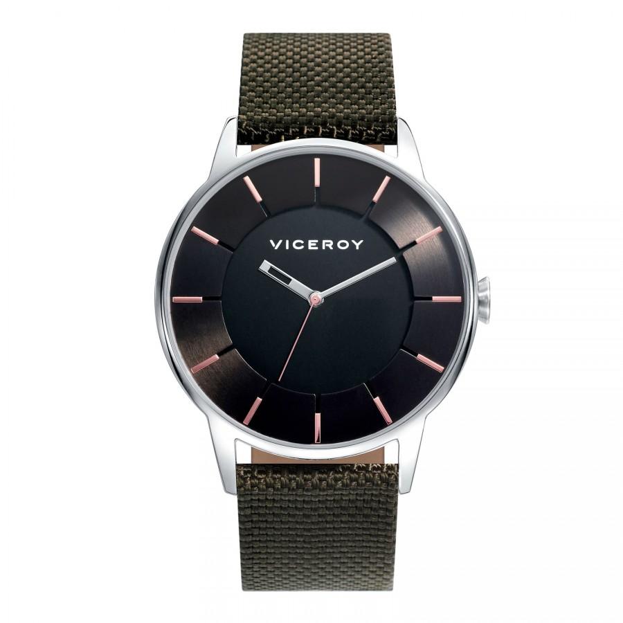 Reloj Viceroy Chico Negro con Correa de Tela Verde